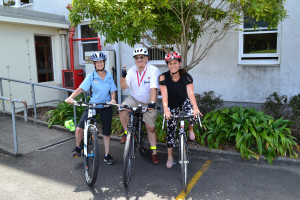 WDHB staff members on bicycles