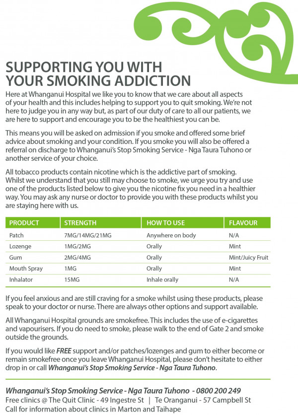 supporting you with your smoking addiction a5 flyer
