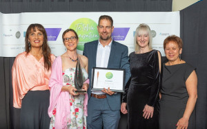 Fit For Surgery, Fit For Life was a winner at the Whanganui District Health Quality Awards in September. Pictured are Christine Taylor, project co-ordinator Felicity Spencer, Marco Meijer and Deb Byers, with presenter Mary Bennett.