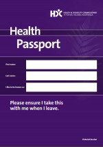The purple cover of the Health Passport booklet